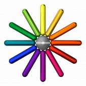 foto of color wheel  - A more modern version of a classic color wheel with metallic rods isolated on white - JPG