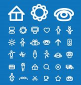 doodle family icons, signs, illustrations set, vector