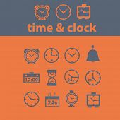 time, clock, minutes, seconds icons, signs, illustrations set, vector