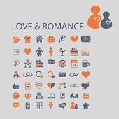 love, romance, wedding, dating, family icons, signs, illustrations, vector, set