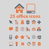 office, document icons, signs, illustrations, vector, set