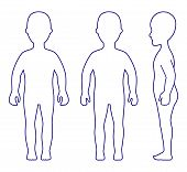 Full Length Front, Side, Back View Standing Girl Outlined Silhouette