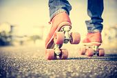 stock photo of skate  - Close up on roller skating shoe  - JPG