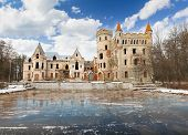 stock photo of mansion  - abandoned Medieval  mansion on a cold day - JPG
