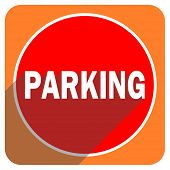 parking red flat icon isolated