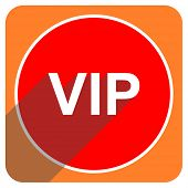 vip red flat icon isolated