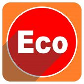 eco red flat icon isolated