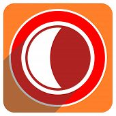 moon red flat icon isolated