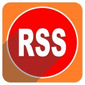 rss red flat icon isolated