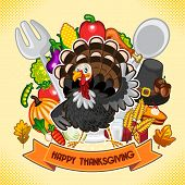foto of thanksgiving  - Turkey with a Happy Thanksgiving sign and background of multiple icons of food and thanksgiving theme - JPG