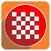 chess red flat icon isolated