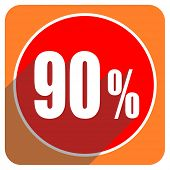 90 percent red flat icon isolated