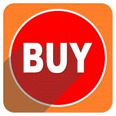 buy red flat icon isolated