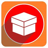 box red flat icon isolated