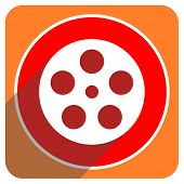 film red flat icon isolated