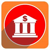 bank red flat icon isolated