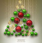 stock photo of xmas star  - Christmas background with balls - JPG