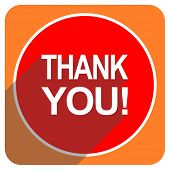 thank you red flat icon isolated