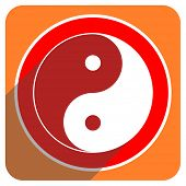 ying yang red flat icon isolated
