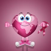 Pink Heart Globe For Breast Cancer