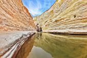 Unique canyon in Israel - En Avdat. Striped sandstone walls and cold stream. In the water reflected the canyon walls and sky