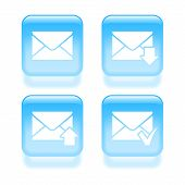 Glassy Email Icons. Vector Illustration