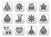 picture of rudolf  - Vector black buttons set for celebrating Xmas isolated on white - JPG