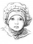 Child girl in beret, Portrait, Hand drawn illustration