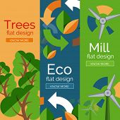 Set of flat design eco concepts, banners with promo text
