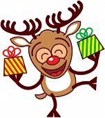 picture of antlers  - Happy brown reindeer with big antlers and red nose while smiling - JPG