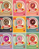 Set Of Nine Donuts Vector