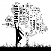 Concept or conceptual black media tree and grass word cloud, a man jumping on white background