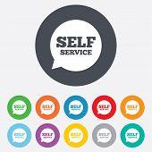 Self service sign icon. Maintenance symbol.
