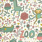 Cute funny animals: crocodile, monkey, giraffe in flowers. Childish cartoon seamless pattern in vector. Ideal for childish designs. Zoo cute texture