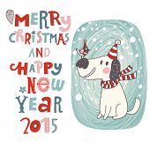 Merry Christmas and Happy New Year background in vector. Cartoon holiday card with cute dog and bird