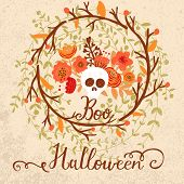 Vintage Halloween card with scull in flowers
