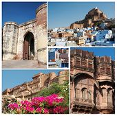 Collage Of Famous Indian Blue City - Jodhpur, Rajasthan, Popular Touristic Destination