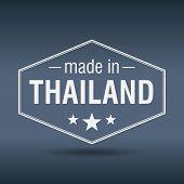 Made In Thailand Hexagonal White Vintage Label