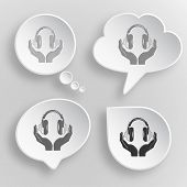 headphones in hands. White flat vector buttons on gray background.