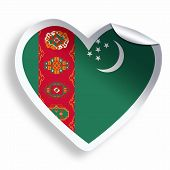 pic of turkmenistan  - Heart sticker with flag of Turkmenistan isolated on white - JPG