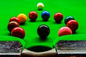 image of snooker  - snooker balls is many colour and green table for snooker game - JPG