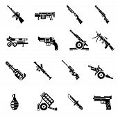 pic of artillery  - Weapon icons black set with bazooka ak47 gun rifle isolated vector illustration - JPG