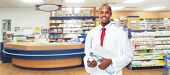 stock photo of medical  - Medical physician doctor man over pharmacy background - JPG