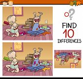 image of differences  - Cartoon Illustration of Finding Differences Educational Game for Preschool Children - JPG