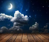 image of moon stars  - backgrounds night sky with stars and moon and clouds - JPG