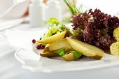 picture of pickled vegetables  - Potato with Pickled Vegetables Plate - JPG