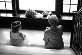 stock photo of niece  - Mother of bride and niece on stairway - JPG