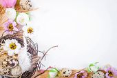 foto of easter card  - Easter card with eggs and flowers - JPG