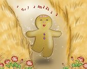 image of ginger bread  - A sweet ginger bread boy is jogging in a wheat field - JPG