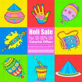 foto of dhol  - illustration of set of Holi element in Indian kitsch style - JPG